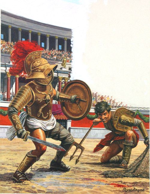 Gladiators were the athletes that played in the Coluseum. Spectators watched gladiators fight till the death.