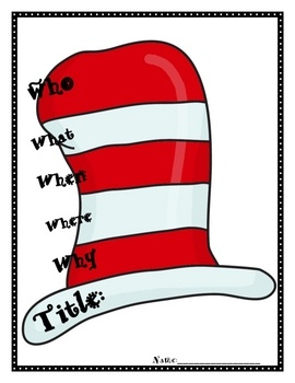 Here's a Hat to record the 5 W's for your next story!  Strengthen comprehension and celebrate You-Know-Who's birthday in style!  This is aligned to...