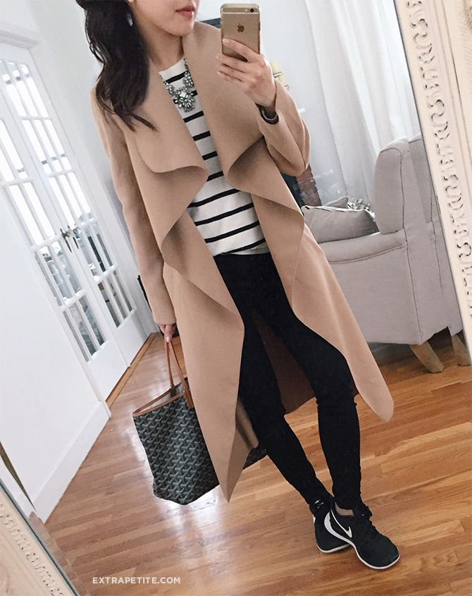 wrap jacket review (comes in reg & petites), sneakers, black jeans, striped tee