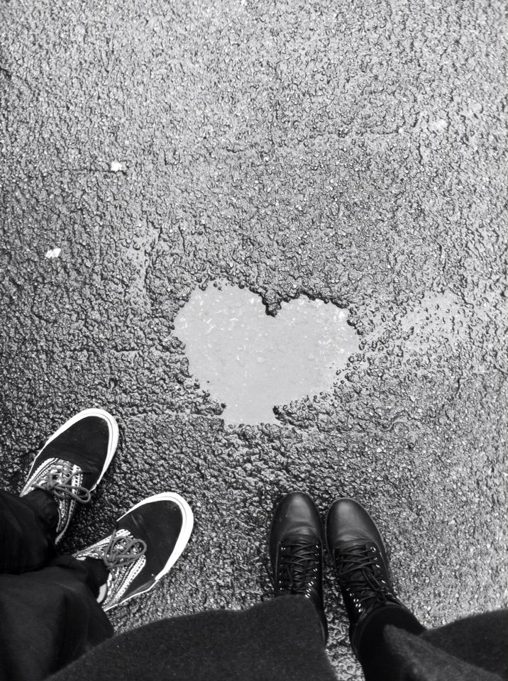 Heart shaped puddle! ☔️ #heart #puddle #blackandwhite #photography