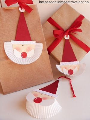Cute Christmas package gift/name tag idea; construction paper, twine, and paper cupcake tin liner.