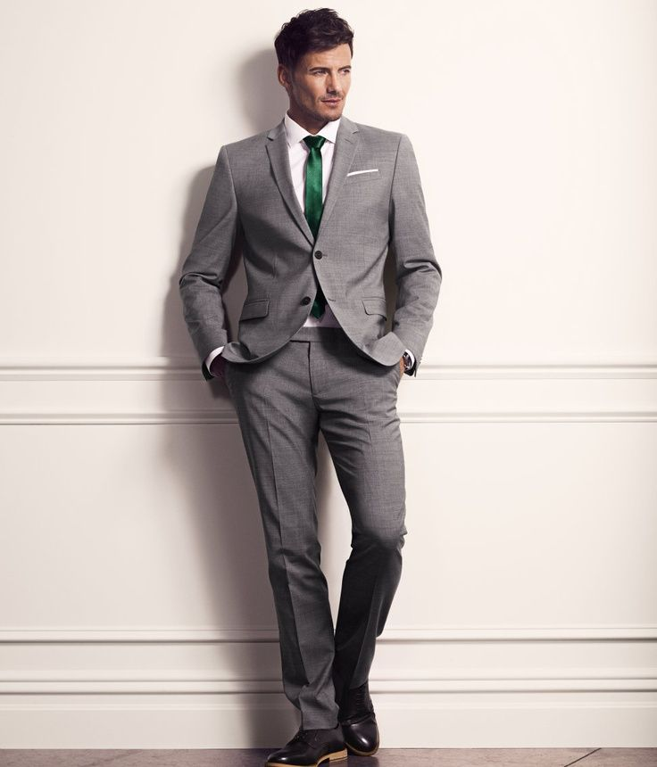 grey suit and hunter green tie - Google Search