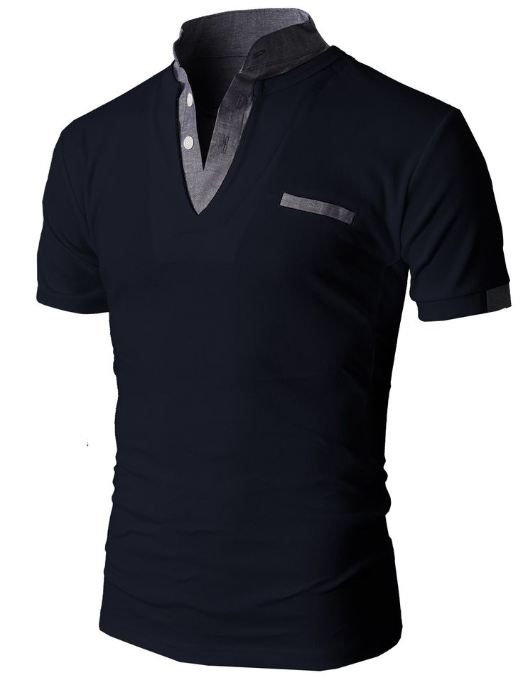 Doublju Men's Unique Hybrid Fashion Polo Shirts with Short Sleeve (KMTTS0100) #doublju