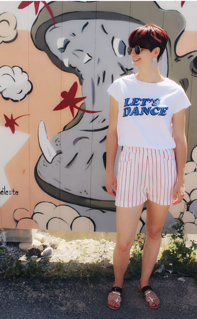 Short rayé blanc et rouge/ Coton & lin/ Cousu main/ Made in France