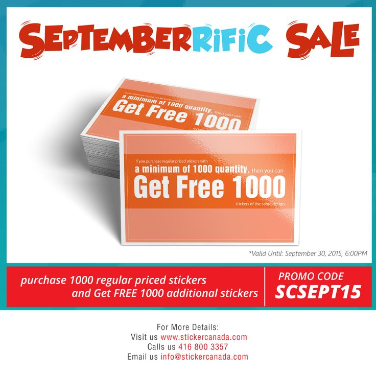 What's hot? Septemberrific Sale is now available in StickerCanada! Purchase 1000 Stickers and Get Additional 1000 Stickers!   Details - http://www.stickercanada.com/page/promo/septemberrific-sale-2015