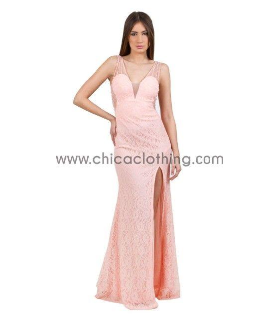 Δαντελωτό μάξι ροζ φόρεμα με ανοιχτή πλάτη