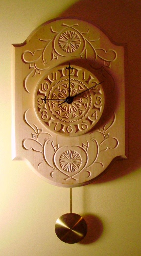 Beautiful chipcarved pendulum clock by miraclechicken on Etsy, $250.00