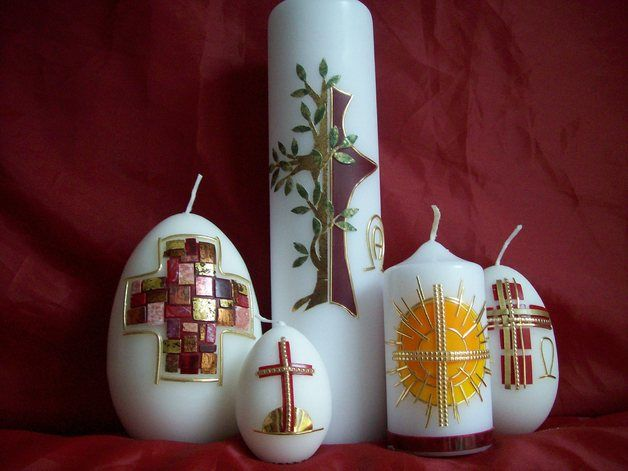Osterkerze Baum/Kreuz