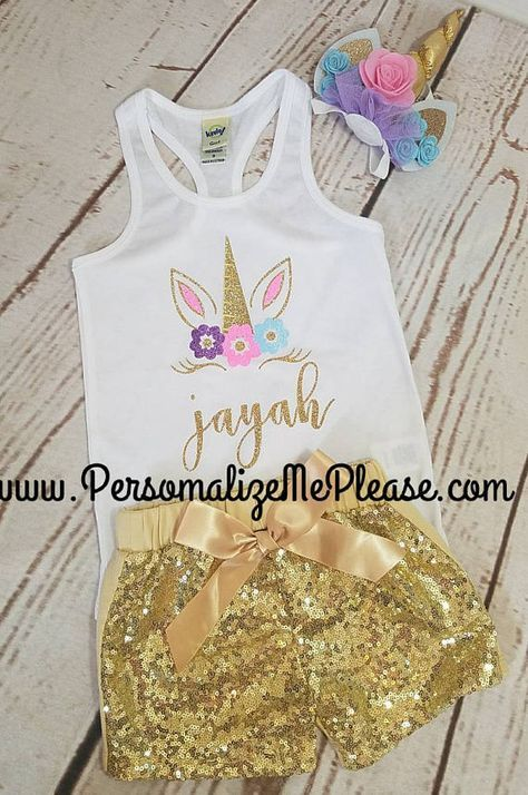 47d13032 Unicorn Birthday Outfit, Unicorn Tank Top, Pink and Gold Baby Girl Birthday  Outfit, Unicorn Tank Top , Pink Sparkle Sequin Shorts | kylie's 1st birthday  ...