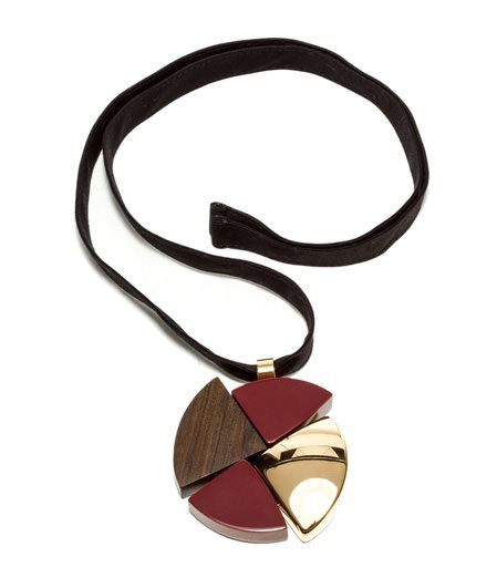 NECKLACE WITH PENDANT-Necklace with black textile string and gold-tone metal resin and wood pendant.
