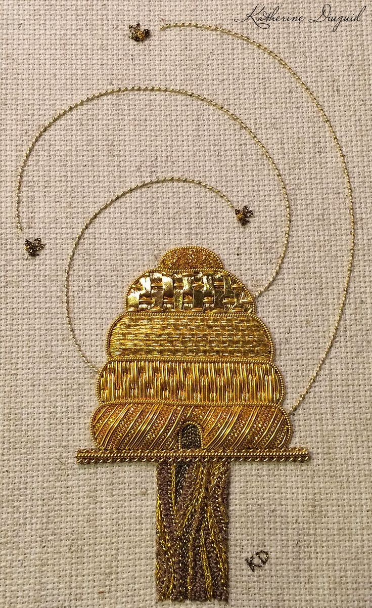 Katherine Diuguid: a beehive in gorgeous goldwork embroidery. You can watch the piece develop on her website. ""