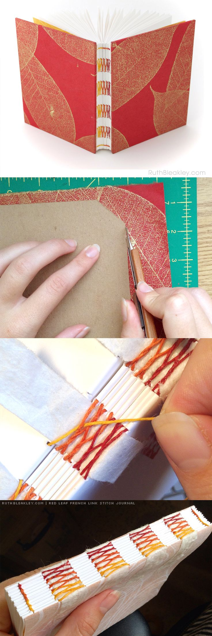 Red Leaf French Link Stitch Journal handmade by Ruth Bleakley - great gift for a writer!