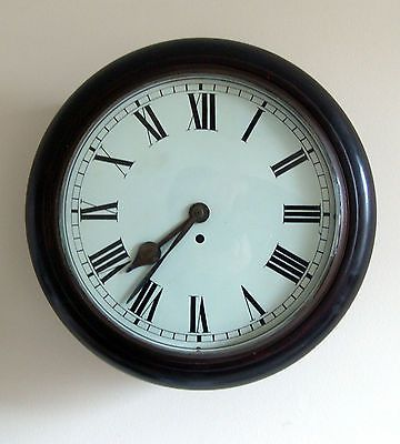 Antique English wood cased Station/Classroom wall clock - Fusee movt working