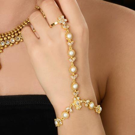 Trendy Pearl and Diamond Finger Ring Bracelet