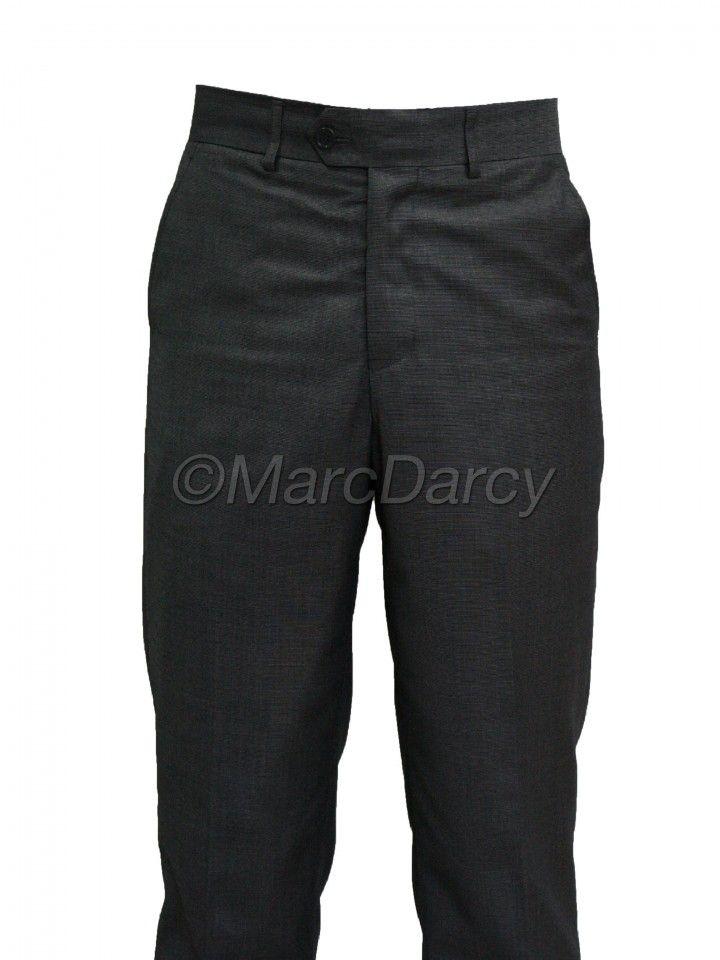 Mens Charcoal Dark Grey  Regular Fit casual formal Trousers