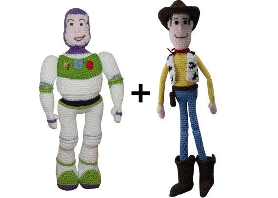 Amigurumi Crochet Pattern Woody & Buzz from Toy story by anumi, 6.50