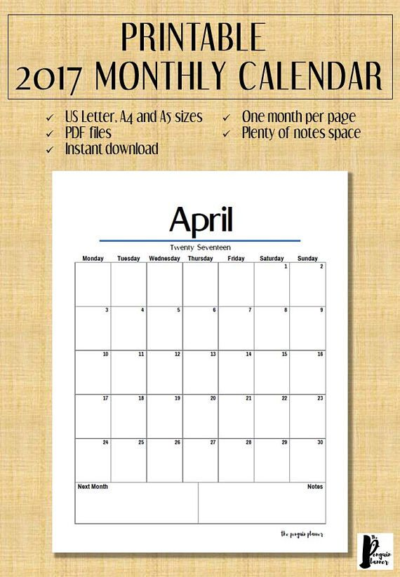 Printable monthly 2017 calendar. This monthly calendar has one month per page and comes with separate files for US letter, A4 and A5 size. You will receive 3 PDF files, one for US letter size, one for A4 size and one for A5 size. Each file has one page for each month i.e. 12 pages each.  This calendar is digital and available for instant download after purchasing. You can print as many as you want once you have downloaded the files. Get your calendar fast – no shipping fees and no waiting…