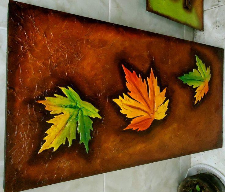 hojas de otoño en relieve | Aprender manualidades es facilisimo.com