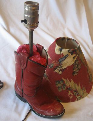 This was listed on ebay some time ago. But I think it's a great inspirational photograph. You could make lamps out of your children's old shoes and boots.