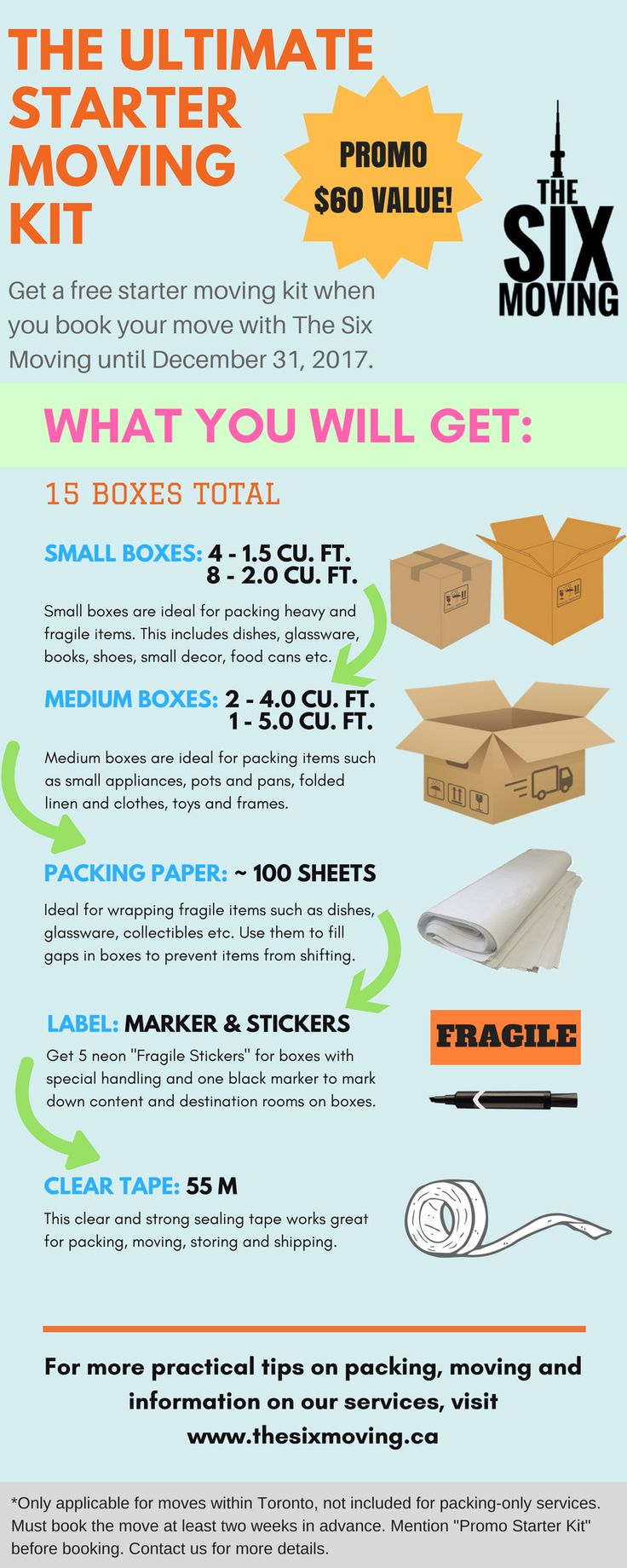 Who doesn't like freebies! Well, here is an essential starter kit for your upcoming move and pack. Free when you book with The Six Moving. $60 value. Here's what you get:
