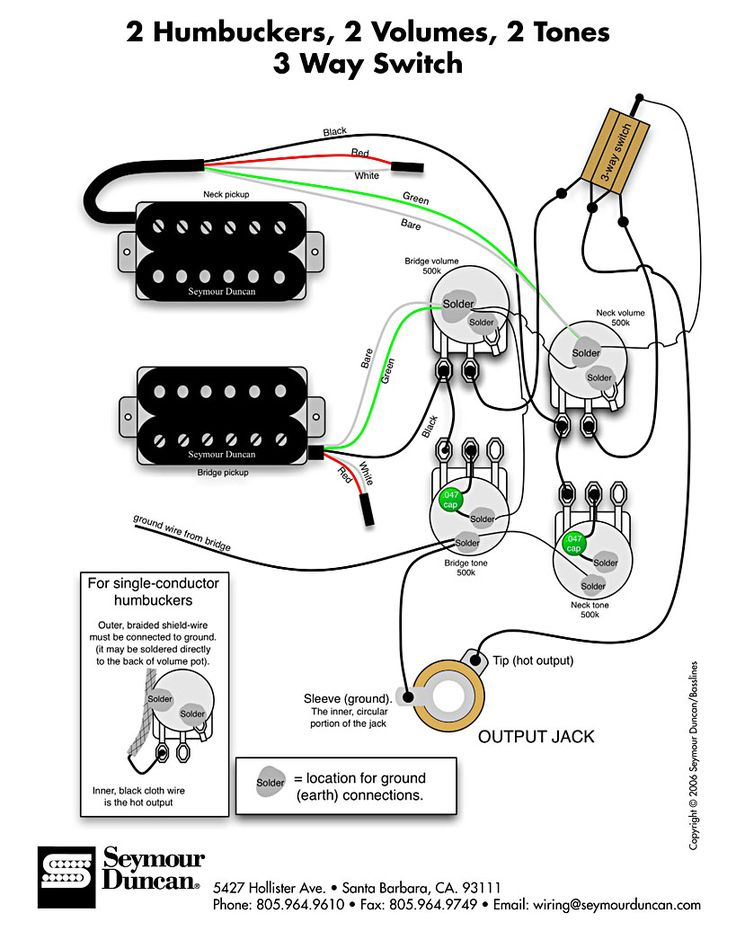 Wiring Diagram for 2 humbuckers 2 tone 2 volume 3 way switch i.e. traditional LP set up find more at http://www.seymourduncan.com/support/wiring-diagrams/