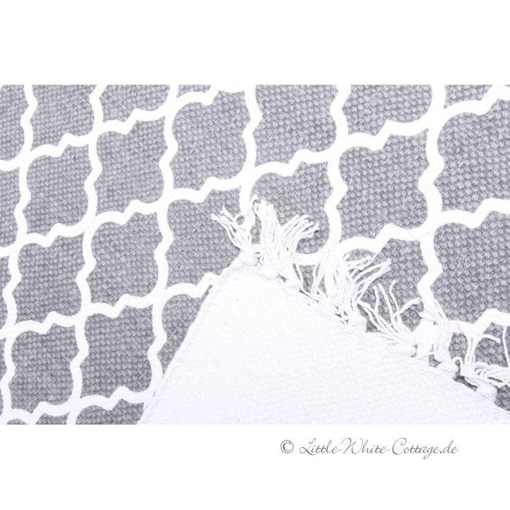 Teppich Läufer Ornamente Baumwolle Fransen grau...