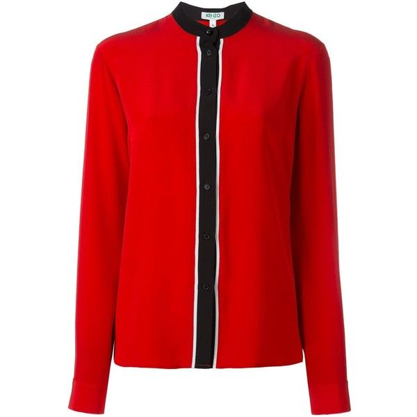 Kenzo Two-Coloured Shirt With Buttons (£210) ❤ liked on Polyvore featuring tops, blouses, red, button front blouse, long-sleeve shirt, red long sleeve shirt, red long sleeve top and button blouse