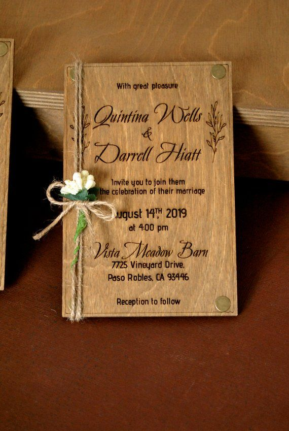 Real Wood Wedding Invitation 4x6 Laser Engraved 100 Natural Birch Wooden Card 1 8 Thickness With Flower Belly Bands Rustic Wedding Wood Wedding Invitations Real Wood Wedding Invitations Wooden Wedding Invitations