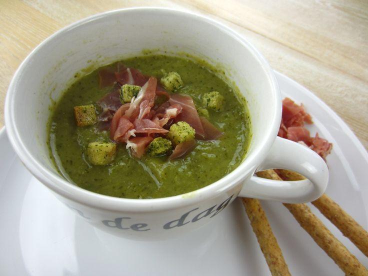 Broccoli Soup with Salty Parma Ham