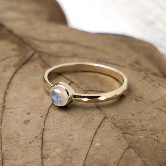 Rainbow Moonstone Ring, Promise Ring, Stacking Ring, Moonstone Ring Gold, Engagement Ring, 14k Gold Ring, Hammered Ring, Gift for her