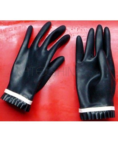 Cheap Womens Sexy Black Latex Gloves With Ruffles Trim The material of this Sexy Black Latex Gloves is  natural latex, with good elasticity and without smell. Ruffles Trim design makes the gloves more appealing.Since costom tailor is avaliable,size and colors can also be made according to your specification.