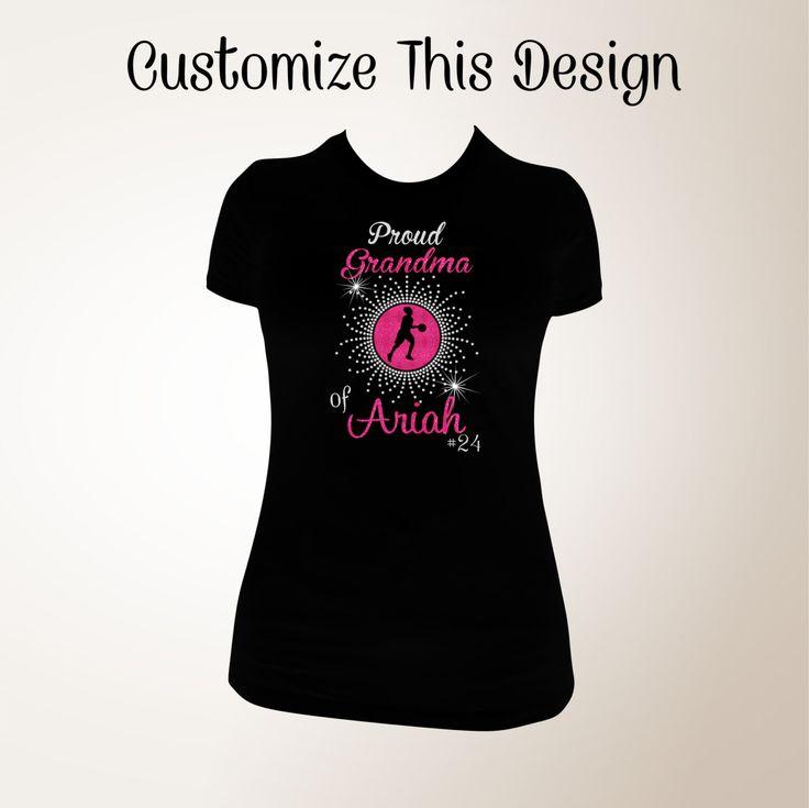 Custom Proud Basketball Grandma Glitter and Bling Shirt, Basketball Shirt, Proud Grandma Shirt, Bling Shirts, Grandma Bling Shirts, Nana by TCXpress on Etsy