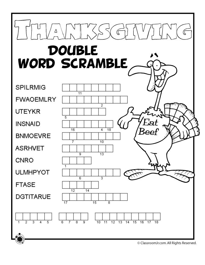 Thanksgiving Word Puzzles Thanksgiving Double Word Scramble – Classroom Jr.