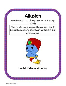 Figurative Language Center Activity featuring Allusions. Use for small groups or independent work during guided reading.Students read a sentence with an allusion in it, identify the allusion and what it means.