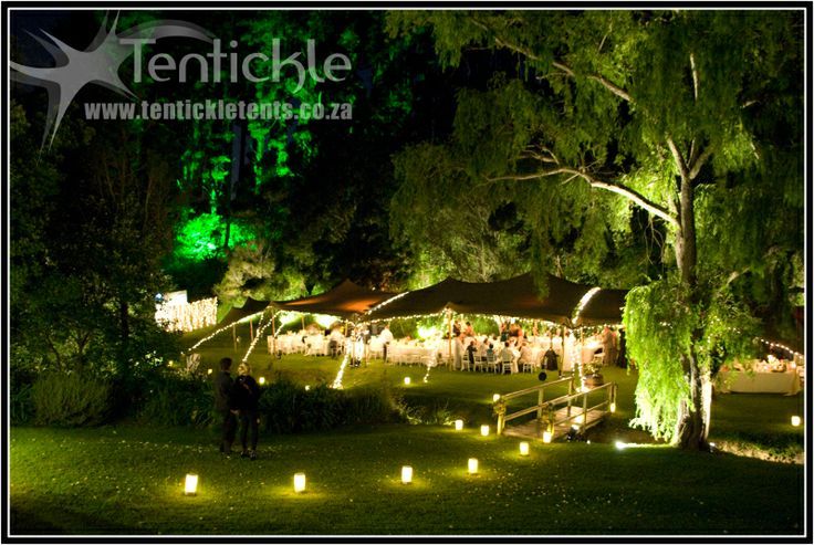 A recent wedding setup with Puccini Creations. Beautiful night shot of the event.