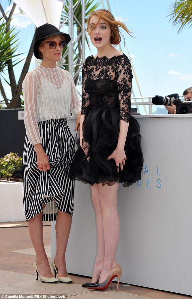 Emma Stone falls victim to the wind at the Irrational Man Cannes photo call | Daily Mail Online