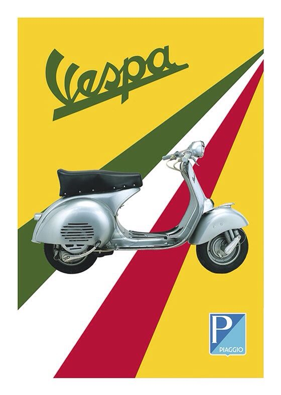 Vespa Vintage Poster, available at 45x32cm and 50x70. This poster is printed on matt coated 350 gram paper.  Also available on mat Blockmount on 50x70cm.