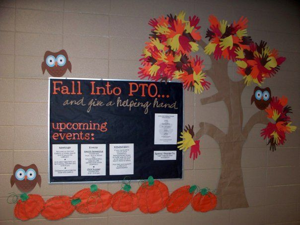 Fall Bulletin Board -- using wall around the bulletin board.  Like the owls , of course!! And the use of the wall for the tree! Very cute!