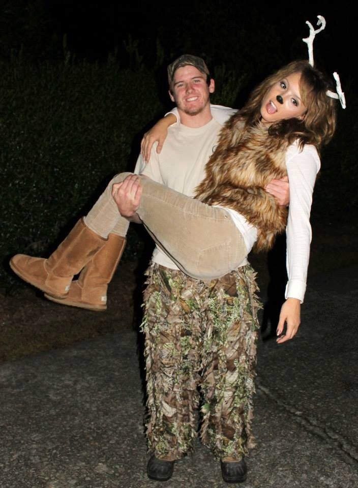 Deer and hunter couples costume for Halloween... with better deer makeup!