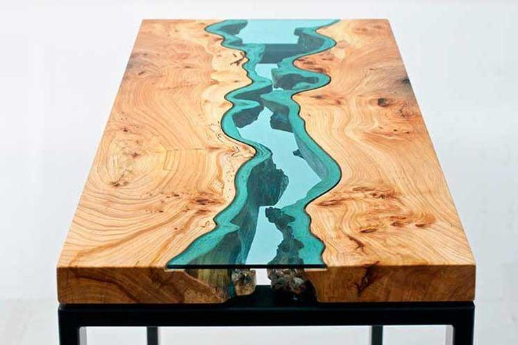 Hermosa mesa de madera y vidrio...