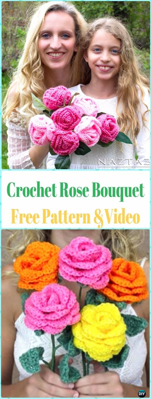 Crochet 3D Rose Flower Bouquet Free Pattern &Video