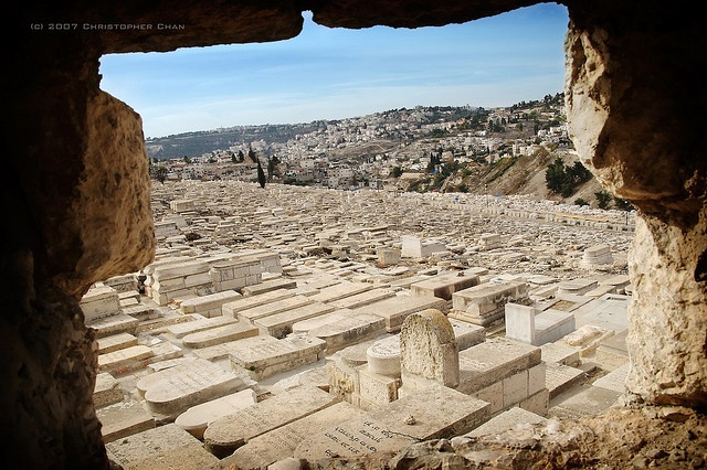 A view of the Jewish cemetery on the Mount of Olives, overlooking the Old City of Jerusalem. Many Jews in Israel and beyond wish to be buried in this burial ground as it overlooks the Valley of Jehoshaphat where scriptures say the Last Judgement will take place. The valley itself is the dip between the cemetery and the city walls.