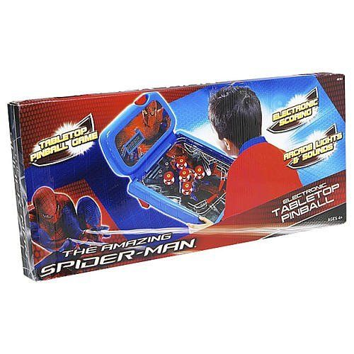 AMAZING SPIDERMAN - LIGHTS & SOUNDS ELECTRONIC TABLETOP PINBALL by Jakks. $49.99. The Amazing Spider-Man Table Top Pinball Game features electronic lights, sound effects and LCD scoring. Launch your ball into action and watch the ball as it ricochets off the bumpers and obstacles. Rack up as many points as you can on the LCD scoreboard. Play alone or challenge your friends to see who will get the highest score.