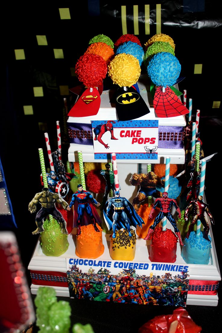 Superhero Cake Pops & Chocolate Covered Twinkies