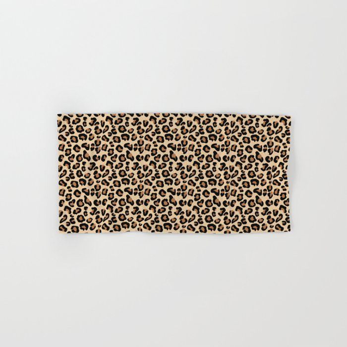Leopard Print Black Brown Rust And Tan Hand Bath Towel By Mm