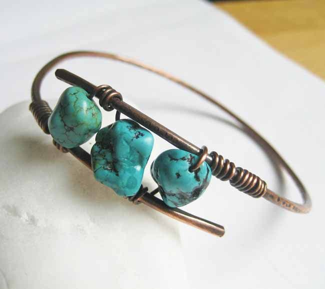 Copper bangle turquoise
