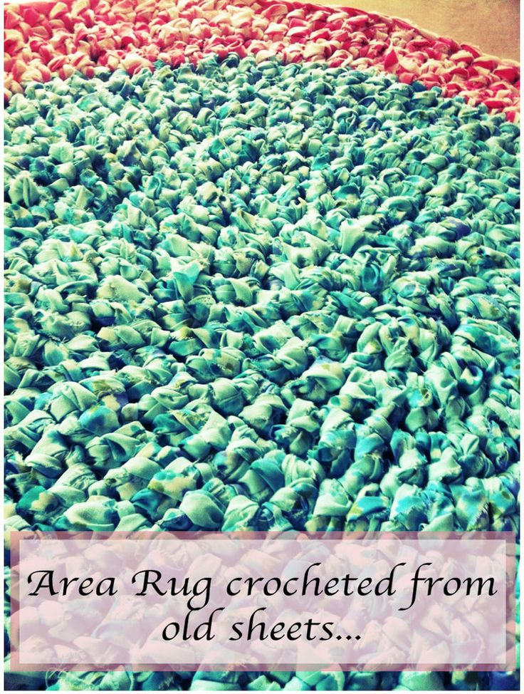 rug crocheted from old sheets!