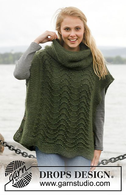 Ravelry: 149-36 Sherwood - Poncho with wavy pattern and detachable collar in garter st in Alpaca and Kid-Silk pattern by DROPS design