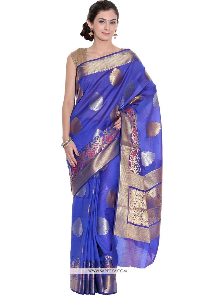 Design and style and pattern would be at the peak of your splendor when you attire this blue art silk designer traditional sarees. The enticing weaving work a substantial characteristic of this attire...