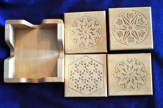 Chip carved coaster set by geneknox on Etsy, $30.00